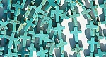 Turquoise Cross Beads, 16x12mm Turquoise Magnesite Cross Beads, Gemstone Beads Strand
