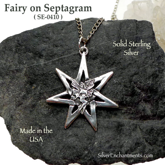 Sterling Silver Fairy On 7 Pointed Fairy Star Pendant