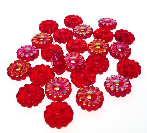 Czech Glass Beads Flower Red 12mm
