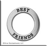 Sterling Silver BEST FRIENDS Affirmation Ring Necklace Charm