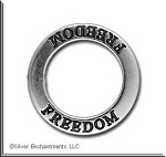 Sterling Silver FREEDOM Charm, Freedom Affirmation Jewelry