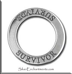 Sterling Silver SURVIVOR Charm, Survivor Affirmation Ring Necklace