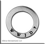 Sterling Silver WWJD What Would Jesus Do Affirmation Ring Necklace Charm - CLOSEOUT