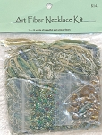 SOLD - Art Fiber Necklace Kit, Sage Green and Amber Golds