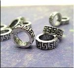 Antique Silver Greek Key Large Hole Spacer Ring Bead 4x11mm Pewter (1)