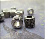 Silver Rope Coil Patterned Large Hole European Tube Spacer Beads 7x9mm Pewter (10)