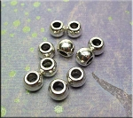 Bright Silver Plain Rondelle Large Hole Beads 7x10mm Pewter (10)