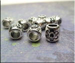 Silver Large Hole Barrel Bead with Flower 9x8.5mm Pewter (1)
