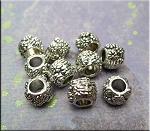 Silver Flower Large Hole Beads 8x10mm Pewter Base Metal Big Hole Beads (10)