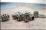 Silver Flower Large Hole Beads 11x8.5mm Pewter Big Hole Beads (10)