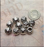 Silver Diamond Pattern Large Hole Beads 7x9mm Pewter Big Hole Spacers (10)