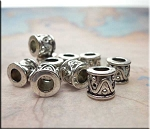 Silver Fancy Drum Spacers Large Hole Beads 9x9.5mm Pewter Big Hole Beads (10)