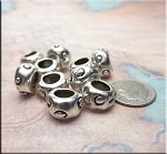 Silver Polka Dot Large Hole Beads 8x13mm Pewter Big Hole Beads (10)