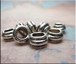 Rondelle Large Hole Spacers 7x12mm Antique Silver Big Hole Beads (1)