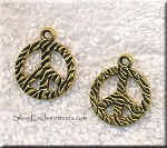 Double Sided Textured Peace Charm 18mm Antique Gold Peace Sign (1)