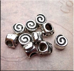 Silver Spiral Large Hole Bead 6.5x7.5x7mm Pewter Big Hole Bead (1)