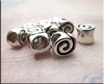 Silver Spiral Large Hole Beads 6.5x7.5x7mm Pewter Big Hole Beads (10)