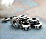 Fancy Ring Large Hole Spacer Beads, Antique Silver (10)