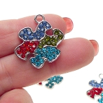 Puzzle Piece Necklace with Crystals, Autism Jewelry