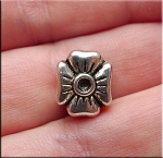 Flower Large Hole Bead, Antique Silver