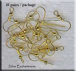 Gold Plated Ear Wires with Ball and Coil, 10-pairs 20pcs