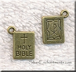 Holy Bible Charm, Double Sided, Antique Brass