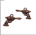 Copper 3D Space Cowboy Charm, Gun Charm, Antiqued Copper 6-Shooter Gun Charm