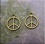 Peace Sign Charm, Antiqued Brass Peace Necklace