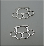 Double Sided Brass Knuckles Charm, Antique Silver Finish, 14x24mm