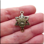 Hamsa Hand of Miriam with Star of David Jewelry Connector, Antique Burnished Gold Finish, 27x19mm