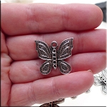 Silver Butterfly Charms, Pewter Butterfly Pendants Bulk (10)