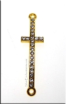 Sideways Cross Bracelet Centerpiece with Crystals, Gold Finish