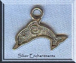 Silver Dolphin Pendants, Antique Silver Pewter Dolphins with Spiral Pendants, Bulk (10)