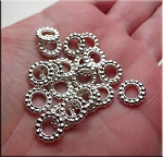 Bright Silver Large Hole Spacer Beads 9.5mm with 5.5mm Hole Pewter Jewelry Spacers (20)