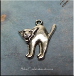 Silver Halloween Cat Charm, Antique Silver Pewter Freaked Cat Jewelry