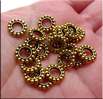 Large Hole Spacer Beads, Antique Gold European Jewelry Spacers (20)