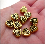 Antique Gold Pewter Celtic Heart Beads 9mm (10)