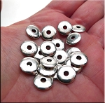 Silver 10mm Wafer Rondelle Spacer Beads Pewter Base Metal Spacers (20)