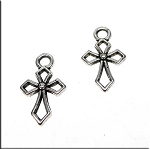 Small Cross Charm Necklace, 17x10mm Christian Double Sided Cross Jewelry (1)
