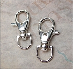 Lobster Swivel Clasp for Key Rings Bag Charms Bright Silver 38x17mm
