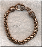 Woven Chain Bracelet with Fancy Heart Clasp, Antique Copper Plated