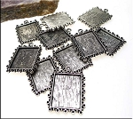 Inlay Frames or Picture Frame Charms, Bezel Pendants, Bulk (10)
