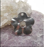 Hammered Flower Charm Antique Silver 24mm