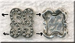 2-Strand Jewelry Separator Finding Antique Silver Marcasite Style 12mm