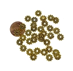 Gold 8mm Snowflake Jewelry Spacers, Pewter Spacer Beads with 2mm Hole, Bulk 40pc