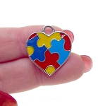 Autism Awareness Heart Charm, Multicolor Enameled Puzzle Piece Jewelry