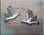 Double-Sided Bird Charm Antique Silver 18mm