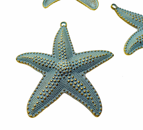 Extra Large Starfish Pendant With Verdigris Patina 63mm