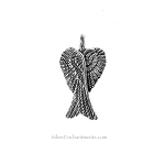 Bailed Folded Angel Wings Pendant, Antique Silver