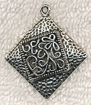 Large Hammered Scroll Floral Motif Pendant, Flower Jewelry